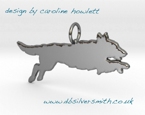 Jumping Leaping Flatcoat retriever dog Charm silhouette solid sterling silver Handmade in the Uk